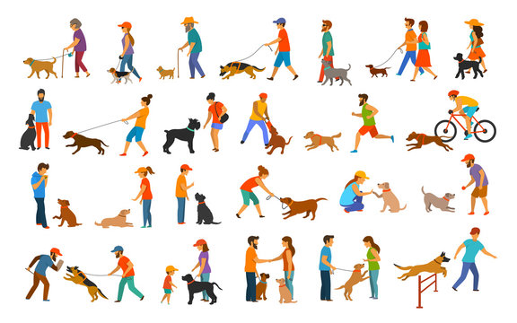 people with dogs graphic collection.man woman training their pets basic obedience commands like sit lay give paw walk close, exercising run jump barrier, protection, running playing and walking,teach