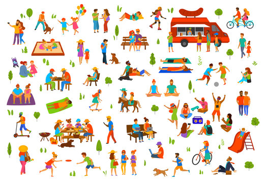 people in the park collection. man woman couples family children friends group seniors walking relaxing sit on benches work on laptops, read books, exercise, on picnic, party,  play, lying sunbathing