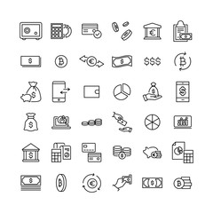 Set of money thin line icons.