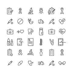 Set of healthcare thin line icons.