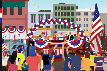 People Celebrating Fourth of July Parade Illustration