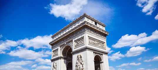 Arc de Triomphe (Triumphal Arch) in Champs Elysees, Paris, France.