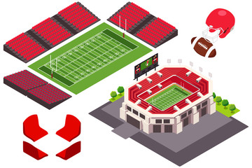 Isometric View of Football Stadium Illustration