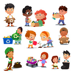 Children Recycling Illustration