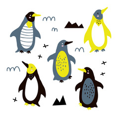Vector illustration of cute funny baby penguin set for print,poster,scandinavian design