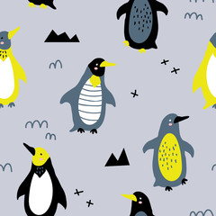 vector seamless background pattern with funny baby penguins for fabric, textile
