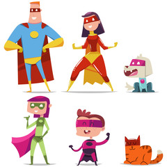 Superheroes family with kid, cat and dog. Cartoon vector character set of a man, woman, boy and girl heroes in masks and cloaks isolated on white background.