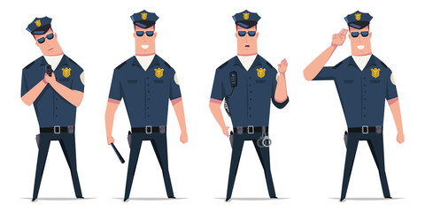 Police officer vector set. Funny cartoon character of a policeman in different poses with handcuffs, a gun and a baton isolated on white background.
