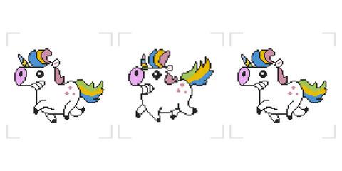 Pixel unicorn. 8 bit vector animation game isolated on white background.