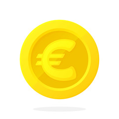 Gold coin of European Union euro in flat style