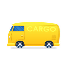 Retro van for cargo transportation in flat style