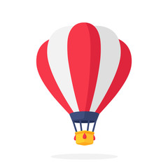 Hot air balloon with red and white stripes in flat style
