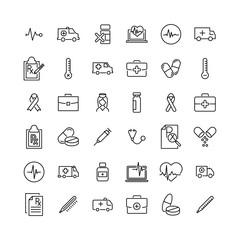 Set of premium health icons in line style.