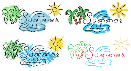 Summer title palm wave sun sketch with color pencil watercolor felt pen grunge vector illustration