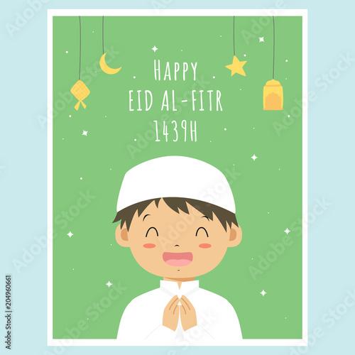 Happy eid mubarak greeting card happy little muslim boy cartoon happy eid mubarak greeting card happy little muslim boy cartoon vector printable eid al m4hsunfo