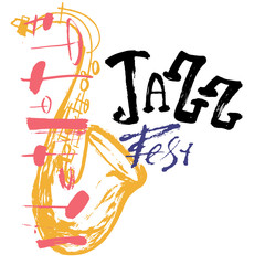 Grunge freehand Jazz Music poster with saxophone. Hand drawn illustration with brush strokes for festival placard and flyer, concert, event
