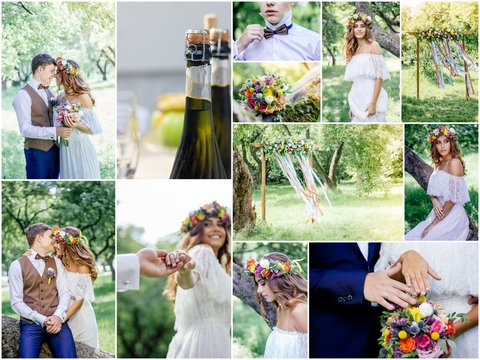 Wedding collage - beautiful marriage outdoors, montage of wedding day.