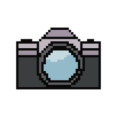 Pixel art camera. Vector 8 bit game web icon isolated on white background.
