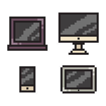 Pixel art phone, laptop, tablet and computer. Vector 8 bit game web icon set isolated on white background.