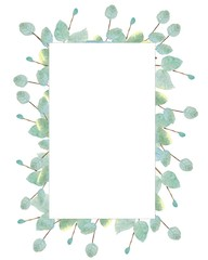 watercolor illustration in a rectangular frame made of branches