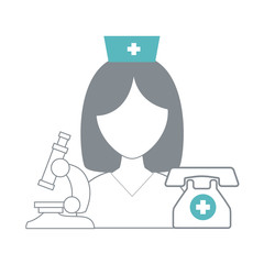 Nurse avatar with medical equipment vector illustration graphic design