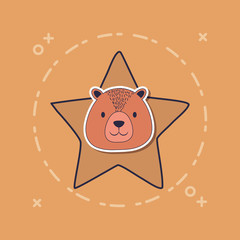 cute bear and star over brown background, colorful design. vector illustration