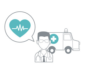 Doctor avatar with medical equipment vector illustration graphic design