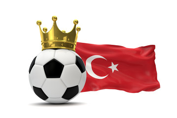 Turkey flag and soccer ball with gold crown. 3D Rendering