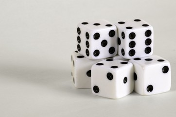 The dice are black and white.