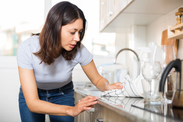Young woman housewife cleaning furniture at  kitchen at home