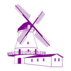 Силуэт ветряной мельницы. Винтажный рисунок. Векторная иллюстрация.