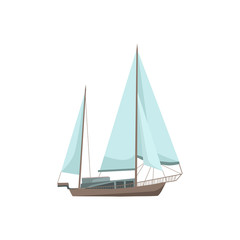 Sailor boat in flat style isolated on white background. Vector illustration.