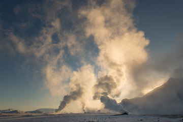 Geothermal steam interacts with -20c air, Hverir, Iceland