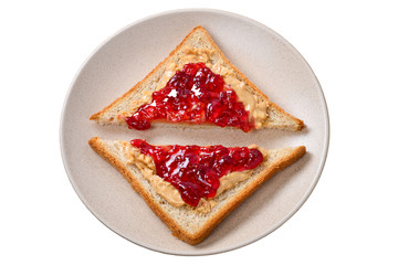 Peanut butter and jelly sandwich on wooden background. Space for text or design.
