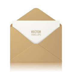 Kraft paper vector envelope, isolated on a white glossy background. Realistic brown opened envelope standing on a surface.