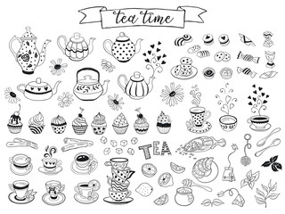 Tea time doodle elements collection. Hand drawn tea vector icons. Teapots, cups, cupcakes and sweets isolated on white background. Design elements.