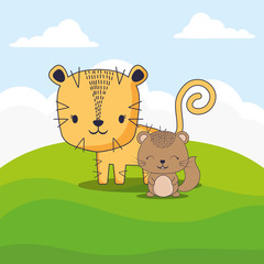 cute tiger and squirrel over landscape background, colorful design. vector illustration