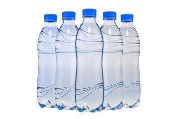 Set of water bottles, 3D rendering