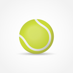 Green tennis ball isolated on white background. Vector illustration.