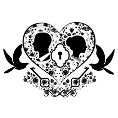 wedding heart with key and doves