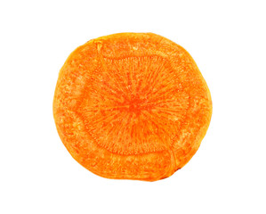 Carrot slice on a white background