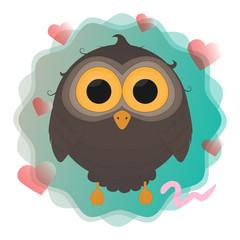 cartoon owl with worm vector illustration eps10