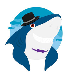 Shark Cartoon Hat Smile vector illustration eps10