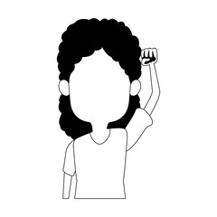 Beautiful girl with hand up vector illustration graphic design