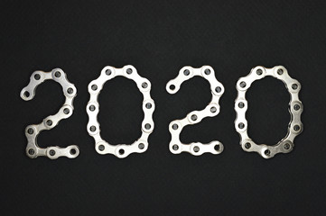 bike chain year 2020 on dark background