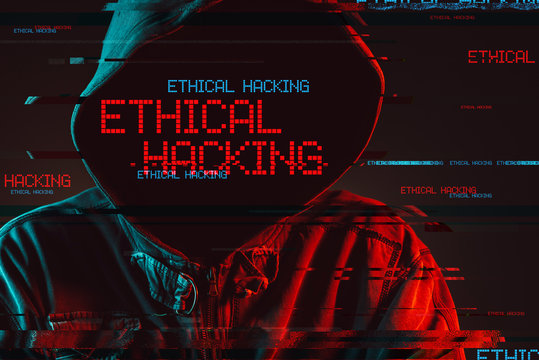Ethical hacking concept with faceless hooded male person