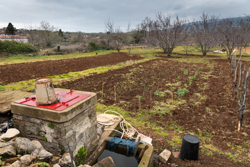 Small farm in Croatia vegetable field, orchard, well in spring