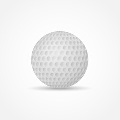 Golf ball isolated on white background. Vector illustration.