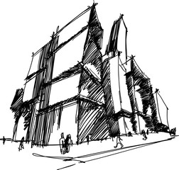 hand drawn architectural sketch of a modern abstract architecture