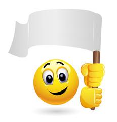 Smiley emoticon waving big blank flag. Smiley holding winner flag.